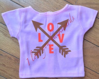 Valentine's Day Themed 18 inch doll shirts