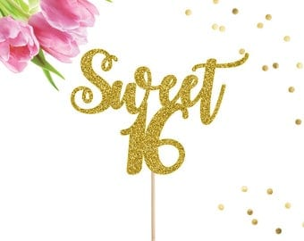 Sweet 16 Cake Topper, Sweet Sixteen Cake Topper, Sweet 16 Decor, 16 Cake Topper, 16th Birthday Party, Sweet 16 Party Decorations, Happy 16th