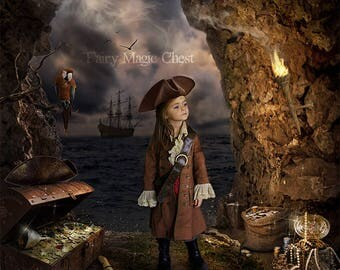 Pirate Digital Backdrop , fantasy digital background / prop for composite photography , photo manipulation, montage. Instant download.