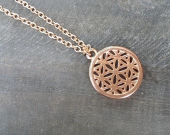 flower of the life necklace, rosé gilded