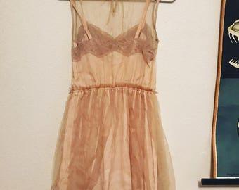 Beautiful tan champagne lace net vintage slip dress s-m