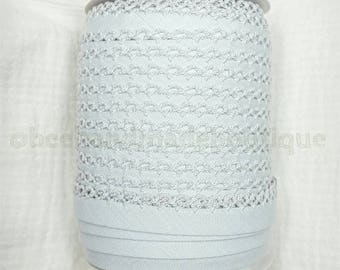 Crochet Bias Tape, Gray Bias Tape, Picot Bias Tape, Crochet Edge Bias Tape,Double Fold Bias Tape, LIGH GRAY, Trim, By the Yard,