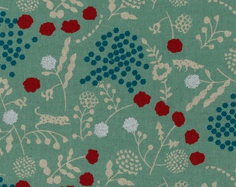 Echino Linen Canvas - Kokka Japanese Fabric - Echino 2018 Sprout in Mint - Metallic Canvas Fabric - Half Yard (about 50cm) Pre Cut