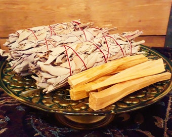 Smudging Kit, Californian White Sage Smudge Sticks + Palo Santo Wood Sticks - Sacred Cleansing Protection Ceremony