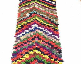 Vintage Berber boucharouit  7.9 × 2.11 feet / 238 × 90 cm moroccan  rug