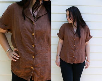 Vintage FLAX Brown Linen Button Down Short Sleeve Blouse with Notched Collar