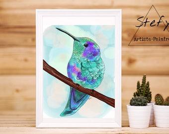 Bird illustration, poster bird colorful bird print bird decor, colorful illustration, Scott, artist Scott, gift idea, home decor