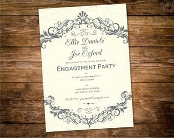 classic engagement pdf template damask invitation design download design id 32 20a - Damask Wedding Invitations