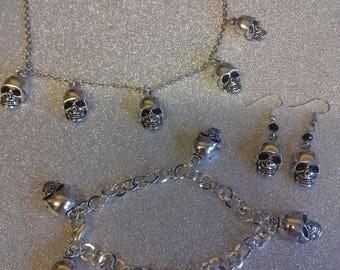 Skull charm necklace/skull earings/skull charm bracelet