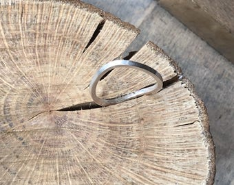 Sterling silver curved ring, stacking ring, layered ring