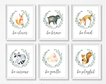 PRINTABLE, Woodland Nursery Art, Animals Nursery Prints, INSTANT DOWNLOAD, Owl fox raccoon bunny bear deer squirrel. Be Kind Brave be Clever