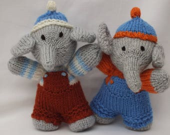 Hand Knitted Elephant Small Size, Handmade Animal Toys, Stuffed Soft Nursery Gifts for Kids