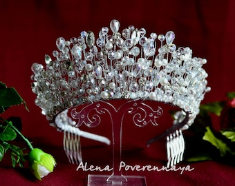 Bridal Crown, Pearl Tiara, Wedding crown, Princess tiara,  Wedding Tiara, Crystal crown Crown, Royal crown, Bridal Headpiece, Wedding Diadem