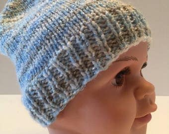 Shiny Blue & Grey Knit Baby Hat
