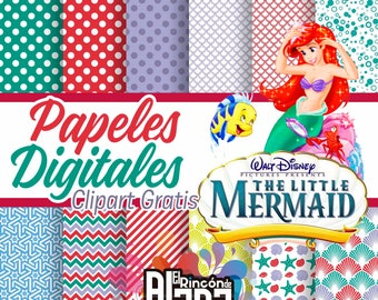12 digital papers 12 X 12 Little Mermaid + 10 Free Clipart