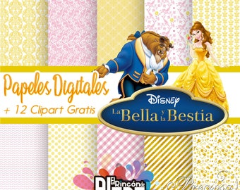 10 papers digital 12 x 12 the beauty and the beast + 12 free Clipart