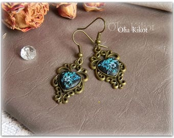 SALE Earrings women turquoise earrings filigree color bronze exquisite earrings polymer clay Gift Beloved Valentine's Day