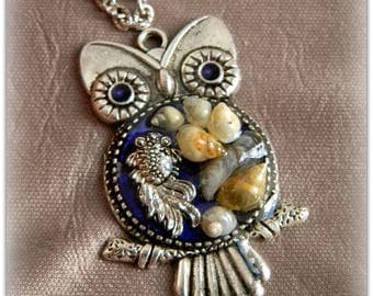 Pendant Owl, blue female pendant with fish and seashells. Vintage pendant. pendant as a gift. Marine themes.