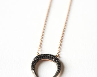 Necklace on chain and Crescent Moon silver plated pink gold