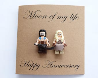 Moon of my life. Wife Anniversary card. Game of thrones card. Girlfriend anniversary card. Fiancee card. Khal Drogo card. Daenerys card.