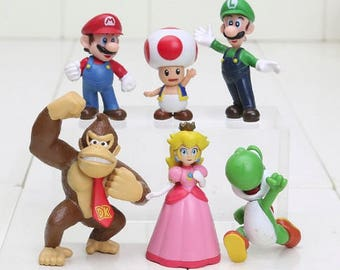 Mario Bros cake toppers birthday party action figures video game toy  Super Mario Brothers cake topper party favors 6 pcs donkey kong peach