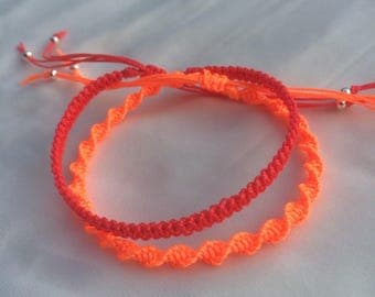 Neon friendship bracelets, neon pink and neon orange macrame bracelets, with silver beads, adjustable