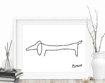 Pablo Picasso Sketch - Pablo Picasso, Picasso Print, Picasso Dog Print, Picasso Sketch, Picasso Animal Print, Picasso Dog, Picasso Drawing