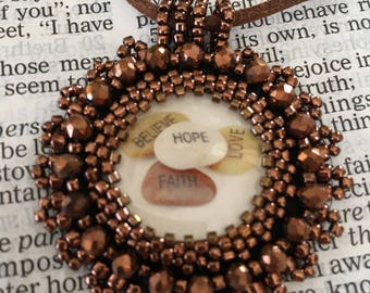 Copper bead embroidery necklace religious.  Christian necklace. Brown bead embroidery necklace. Bead embroidery necklace.  Hope faith love b