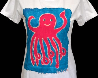 Hand painted T-shirt Octopus