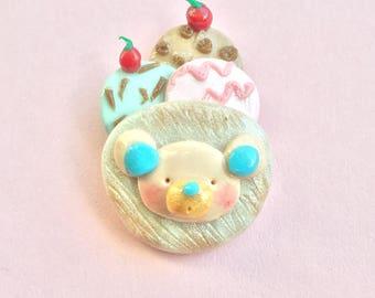 Ice Cream Sundae Teddy Bear Polymer Clay Pin