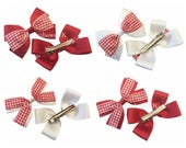 Red and white gingham hair bows on alligator clips, girls red gingham hair accessories, school summer hair accessory bows, hair clips/slides