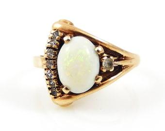 10K Opal & Diamond Asymmetrical Retro Ring - X4402