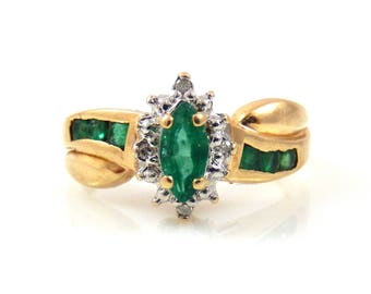 Marquise Emerald & Diamond Ring 10K - X3270