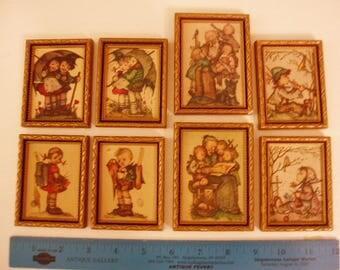 8 Tiny Framed Hummel Prints, Vintage Nursery Decor