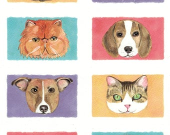 Dogs and Cats Original Watercolor Art Print