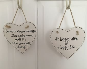 MARRIAGE QUOTE PLAQUE husband wife humour hanging heart