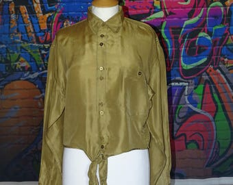 Unusual 90's mustard / darkish gold coloured oversized shirt - reworked and made into tie-top, crop top, knotted top