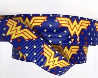"Grosgrain Ribbon 1.5"" Wonder Woman Stars W2 USA SELLER"