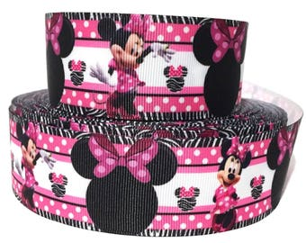 """GROSGRAIN RIBBON 1.5"""" Minnie Mouse M3 Printed  By the Yard"""