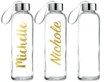 Glass Water Bottles, Monogrammed Water Bottles, Personalized Water Bottles, Custom Water Bottle, Glass Water Bottle, Personalized Bottle