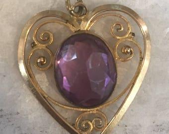 Amethyst paste Heart Pendant