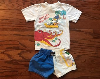 Vintage Snoopy toddler shorts and tshirt set