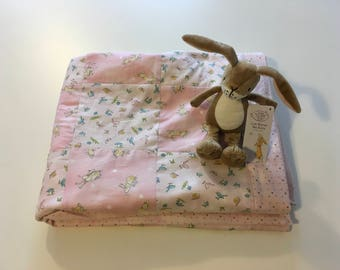 Guess how much I love you patchwork baby quilt - pink