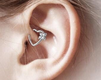 Daith Piercing Four cz Heart Ring..16g(Left Ear)