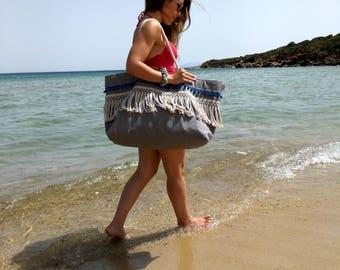 Breeze. Summer Large Tote. Beach Bag. Summer Bag. Boho Bag. Canvas Bag. Beach Tote. Pom Pom Bag. Canvas Tote. Fringe Bag. Bohemianchic. Tote