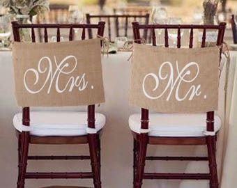 Mr. & Mrs. Burlap Wedding Chair Banner