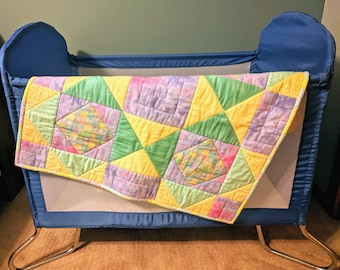 Baby quilt, Car seat quilt, Baby blanket, Baby shower, Baby gift, Pastel colored quilt, Warm baby quilt, Yellow baby quilt