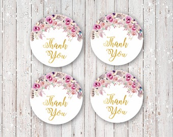 Instant Download Bohemian Boho Thank You Favor Tags with Flowers, Feathers and Gold Foil Font