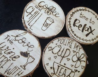 Customised wooden coasters, rustic coasters, present, house warming, birthday, unique tea coasters, wedding, shabby chic, decor, funny gift