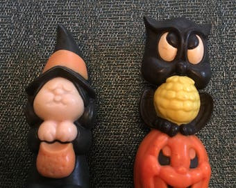 Vintage Halloween Witch and Owl/Pumpkin Wax Figurines